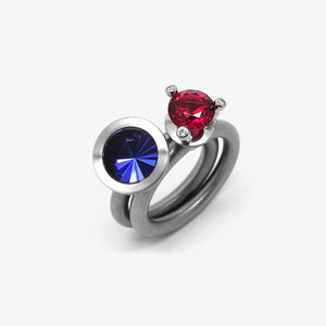 RUBY RED TRIAS + NR10 TANZANITE RING SET