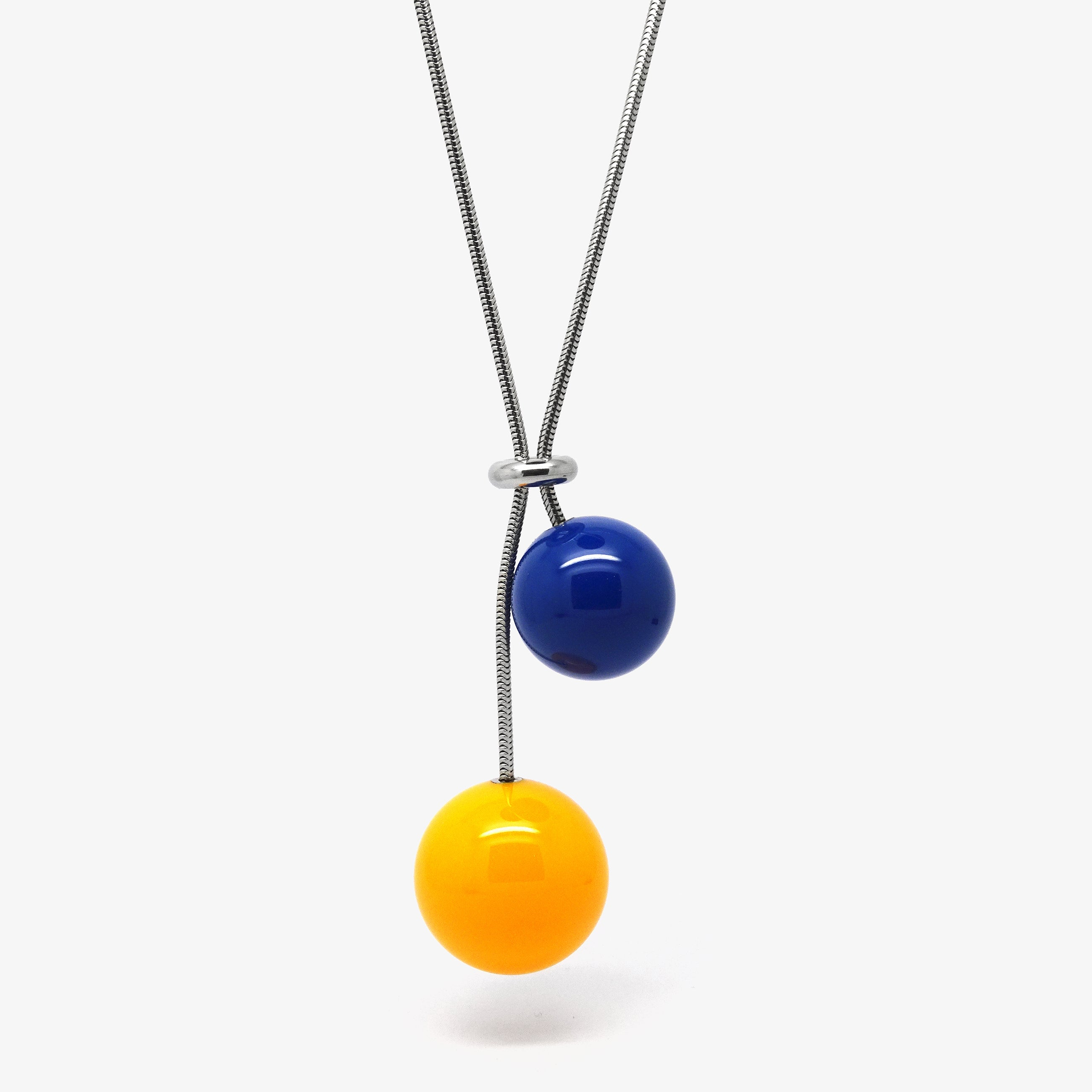 DOUBLE BALL NECKLACE - YELLOW & BLUE