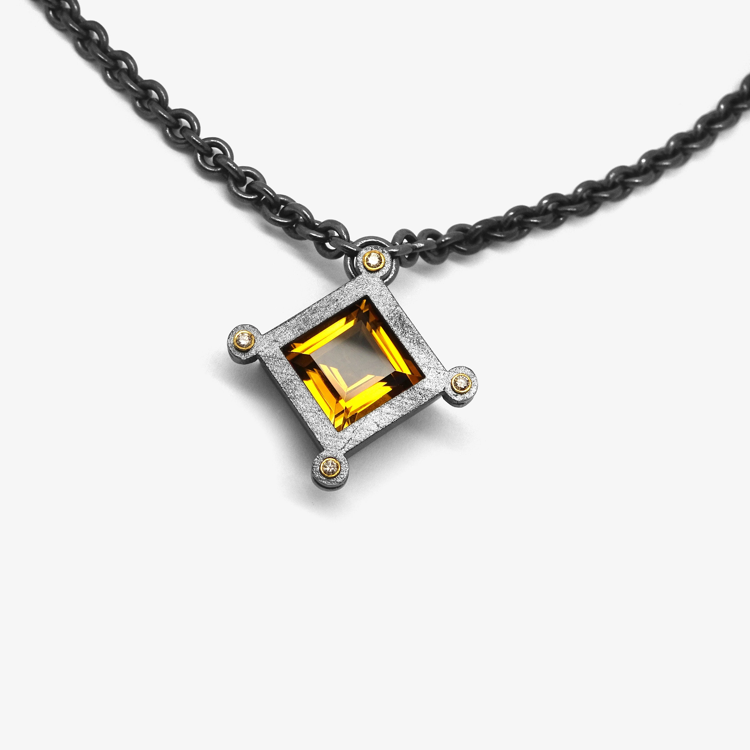 GOLD CITRINE URSA MAJOR PENDANT + DIAMONDS