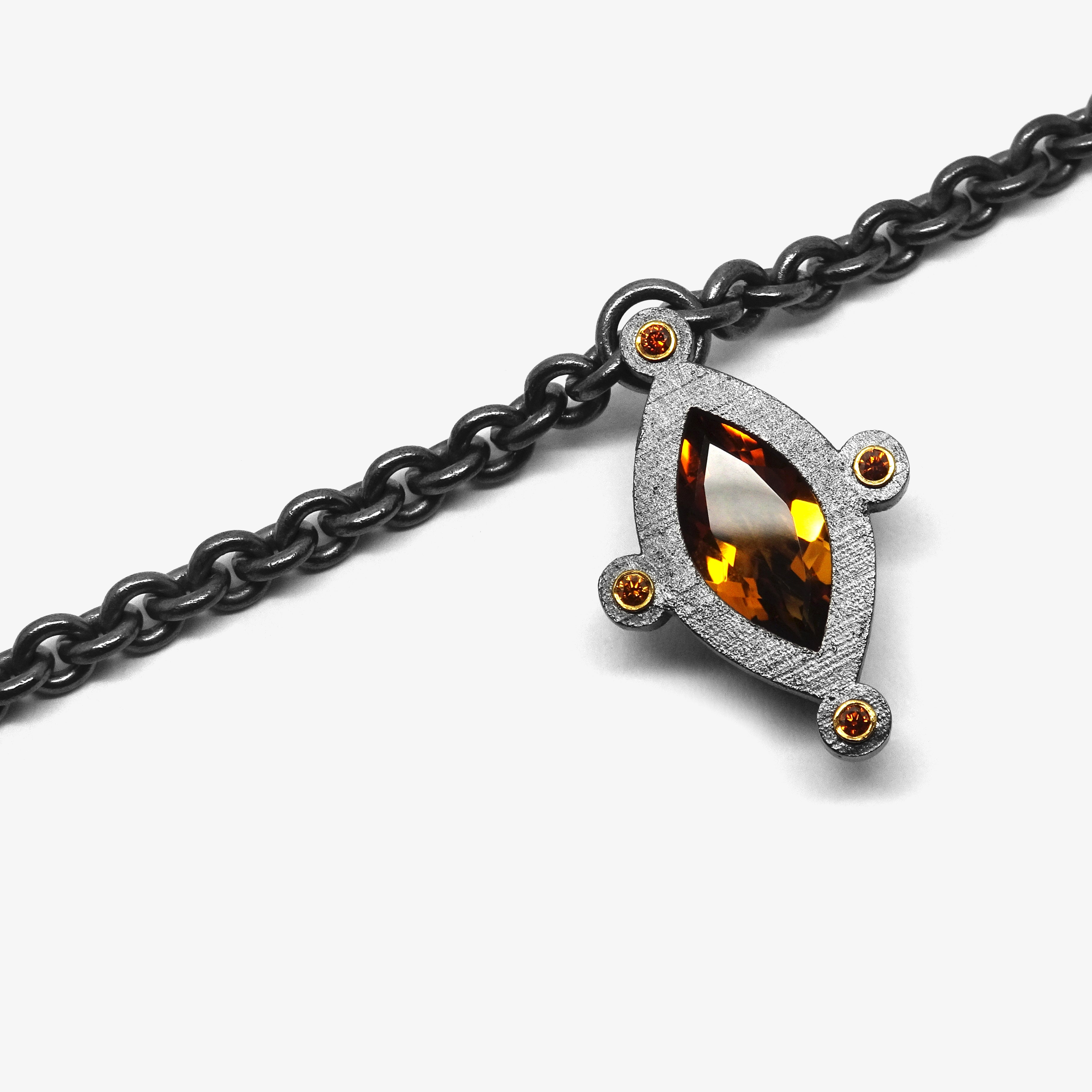 GOLD CITRINE SIRIUS PENDANT + COGNAC DIAMONDS