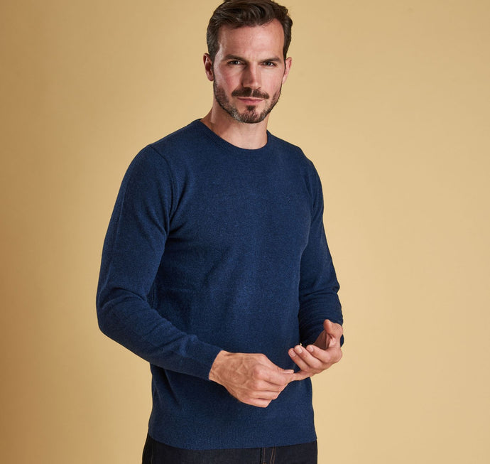 Barbour - Essential  Lambswool Crew Neck Jumper - Deep Blue - Lardieri Store
