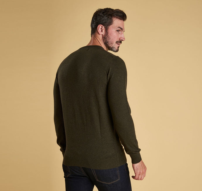 Barbour - Essential  Lambswool Crew Neck Jumper - Seaweed - Lardieri Store