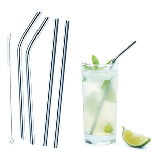 Stainless Steel Straws with Cleaning Brush- Set of Four