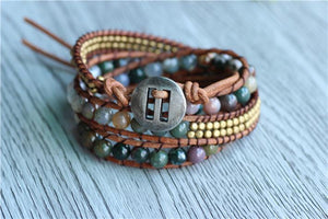 Jasper Triple Wrap Woven and Beaded Bracelet