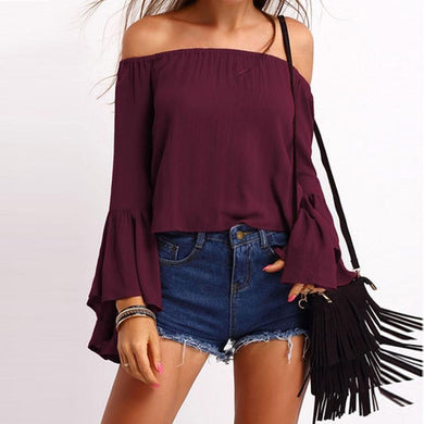 Off the Shoulder Autumn Wine Burgundy Blouse