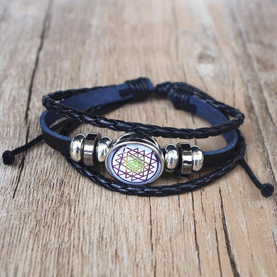Buddhist Sri Yantra Leather Bracelet