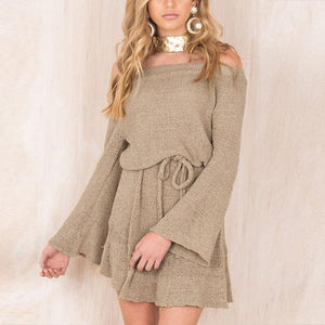 Long Sleeve Off the Shoulder Knitted Autumn Dress