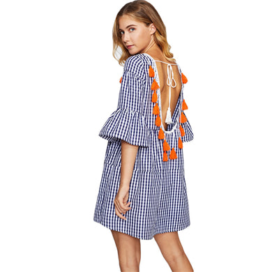 Tassel Tied Open Back Tiered Blue Gingham Dress