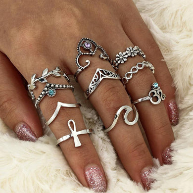 10 piece Set Bohemian Vintage Silver and Blue Stack Rings Above Knuckle
