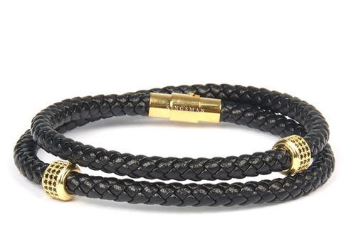 Gold Double Ring Leather Bracelet