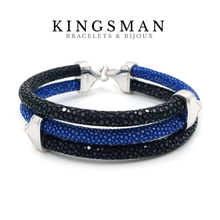 "Stingray ""Triple Royal"" black & blue bracelet"