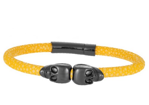 Rhodium Twin Skull Yellow Stingray Bracelet