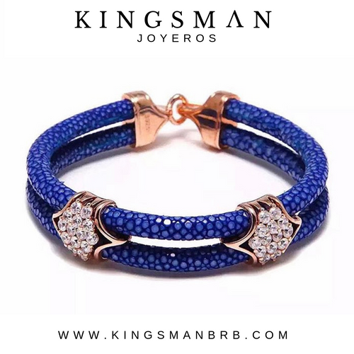 Luxury Stingray Double Blue Strip Rose Gold Bracelet
