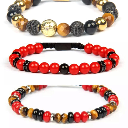 3 Bracelet Stack (RED JADE/ TIGER EYE/ ÁGATA)