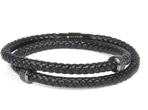 Rhodium Double Ring Leather Bracelet