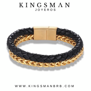 Biker Black Leather and Gold Bracelet