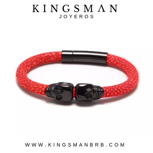 Rhodium Twin Skull Red Stingray Bracelet