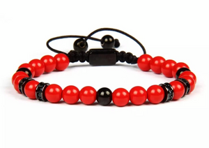 Red Jade and Rhodium Bracelet