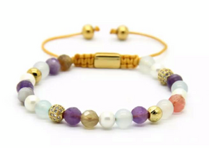 Sea Pearl Botswana and Amethyst Bracelet