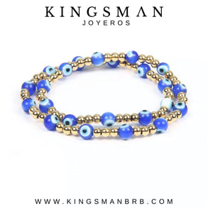 Blue Devil Eye Gold Tour Beads Bracelet