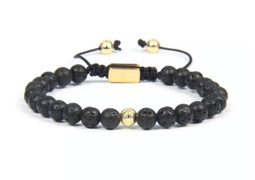 18K Gold Insignia Star and Lava Stone Bracelet