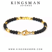 Onyx and Gold MicroBeads Bracelet
