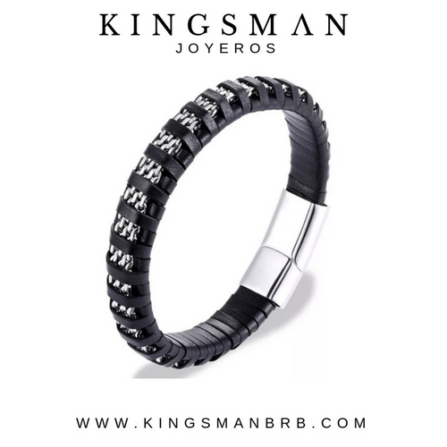 Black leather and Silver Chain Bracelet