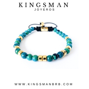 Turquoise Bali and 18K Gold Stoppers Bracelet
