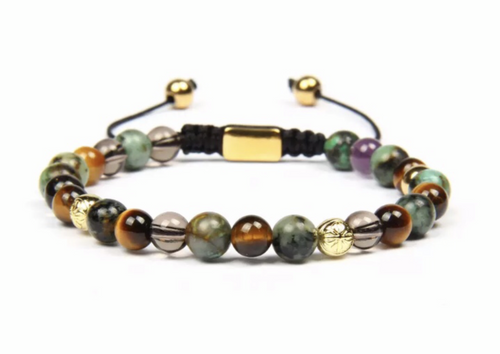 Insignia Star Chrysoprase and Tiger Eye Bracelet
