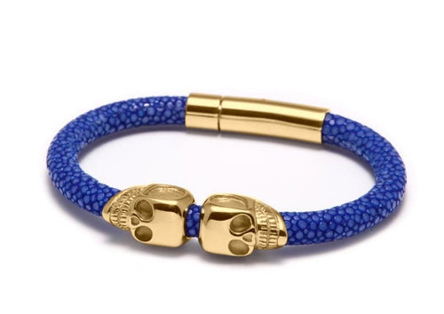18K Gold Twin Skull Blue Stingray Bracelet