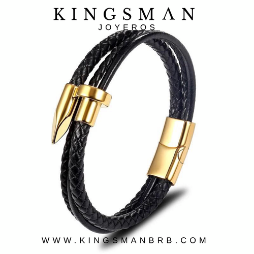 Gold Nail and Leather Bracelet