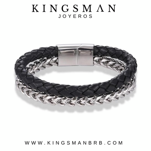 Biker Black Leather and Steel Bracelet