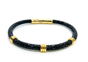 Black and Gold Single Layer Stingray Bracelet