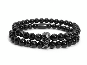 Faceted Rhodium Skull and Agata Stack