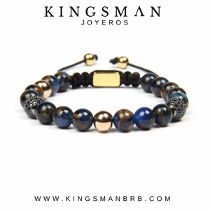 CZ Rose Gold Blue Cloissoné Beads Bracelet