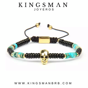 Faceted Gold Skull and Turquoise and Agata Bracelet