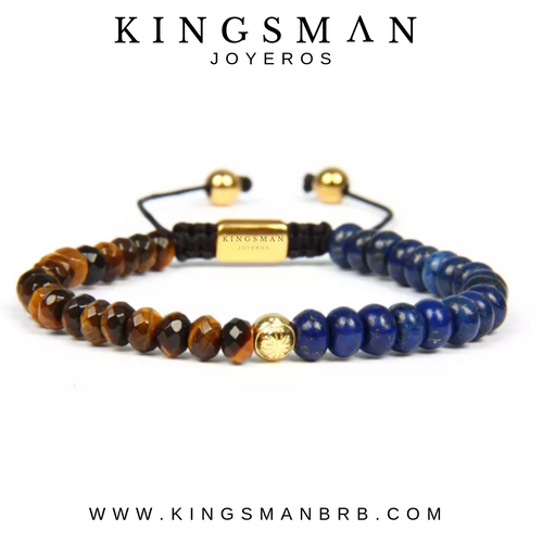Insignia Star Lapis Lazuli and Faceted Tiger Eye Bracelet