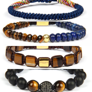 Brown Tiger Eye and Blue Lapis Bracelet Stack
