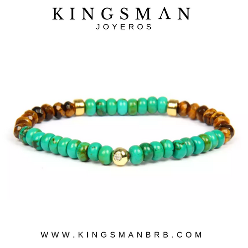 Turquoise Bali and Faceted Tiger Eye Bracelet