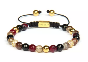Faceted Botswana and Garnet Gold Bracelet