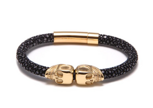 18K Gold Twin Skull Black Stingray Bracelet