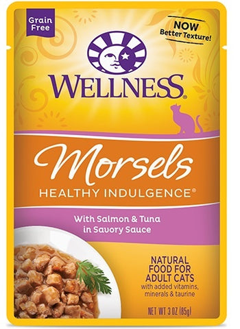 Wellness Healthy Indulgence Natural Grain Free Morsels with Salmon and Tuna in Savory Sauce Cat Food Pouch
