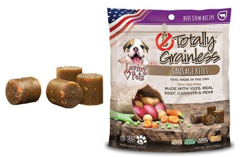 Loving Pets Totally Grainless Grain Free Beef Stew Recipe Sausage Bites Large Breed Dog Treats