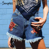 Embroidery High Waist Denim Shorts - Mall4all