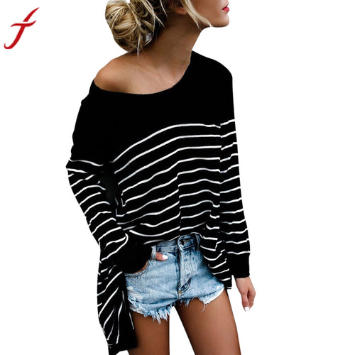 Casual Striped Loose O-Neck Top - Mall4all