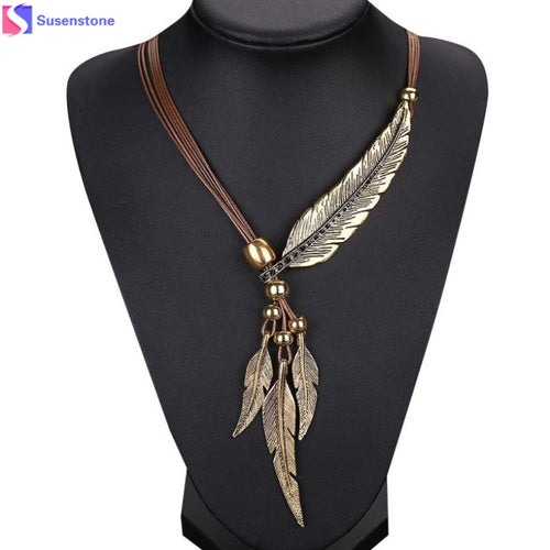 Alloy Feather Antique Necklace - Mall4all