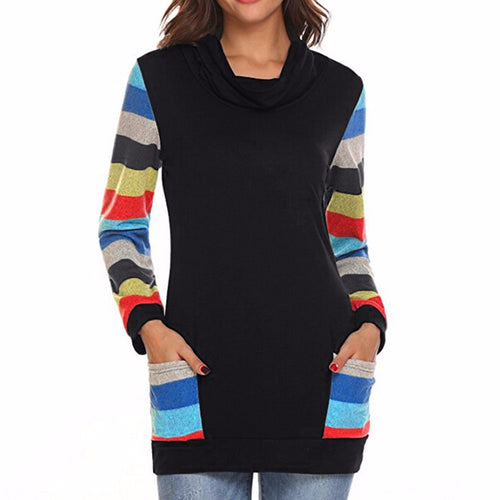 Color Block Striped Blouse - Mall4all