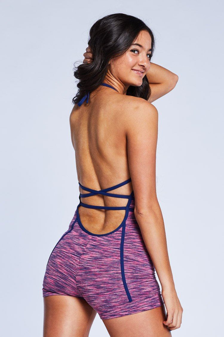 Arrow Unitard Fitted Wear - One Pieces - Unitards Jo+Jax Pink Space Dye/Navy Small Adult