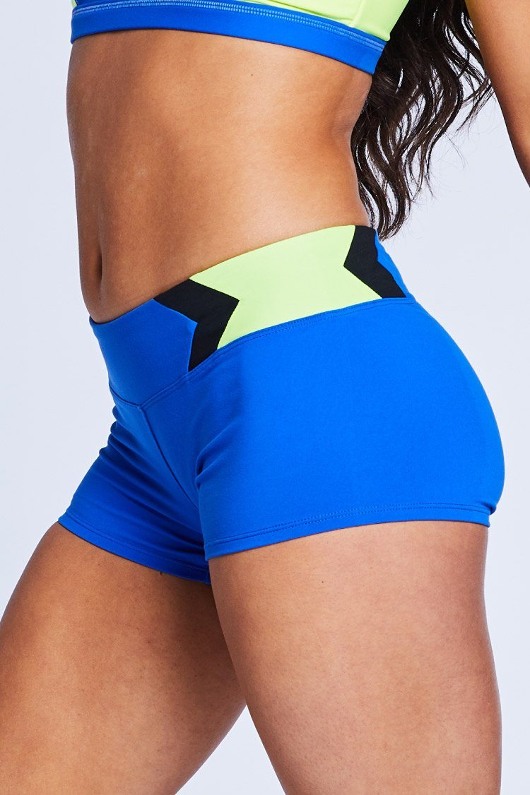 Chevron Shorts Fitted Wear - Bottoms - Shorts Jo+Jax Blue/Acid Yellow Small Adult