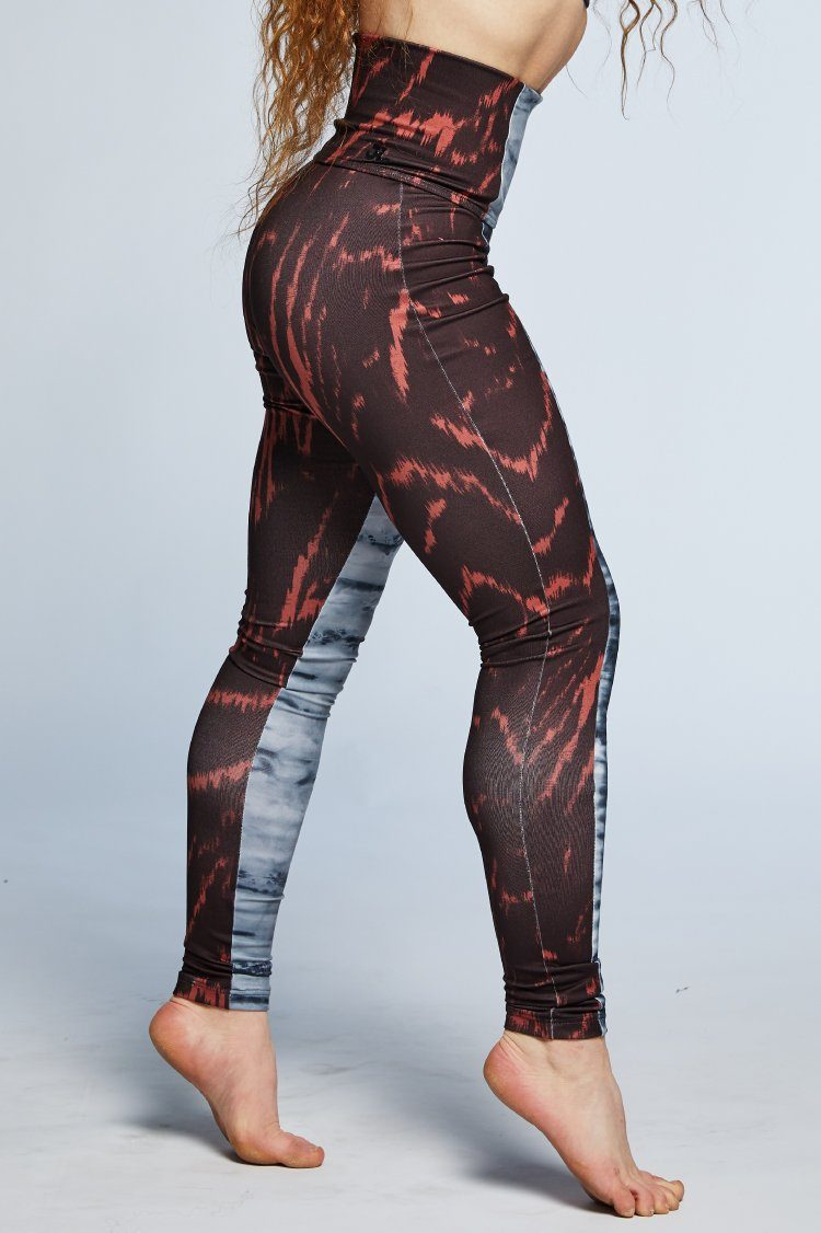 Combo Leggings Fitted Wear - Bottoms - Leggings Jo+Jax Smoke/Ruby Tiger Youth Medium
